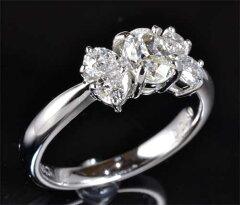 Ptオーバルカットダイヤモンド0.543ctJ-SI1脇石ペアシェイプダイヤ0.40ctリング《送料無料!》