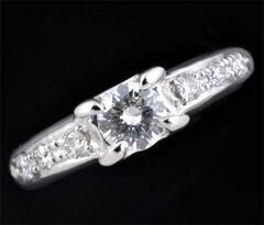 Ptダイヤモンド0.433ctH-VS1Good脇石ダイヤ0.23ctプラチナリング《送料無料!》