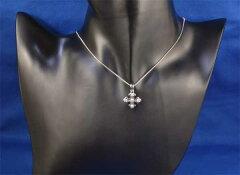 K18WGダイヤモンド0.23ctホワイトゴールドクロスペンダントネックレス《送料無料!》
