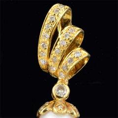 K18アコヤ真珠8.3mm8.6mmダイヤモンド0.53ct18金イヤリング《送料無料!》