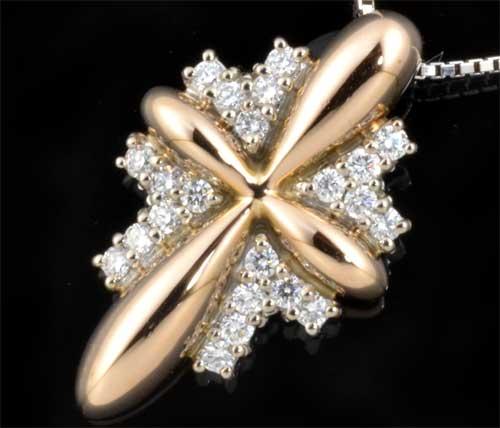 K18/K18WG ダイヤモンド 0.32ct18金 ホワイトゴールド ペンダントネックレス《!》