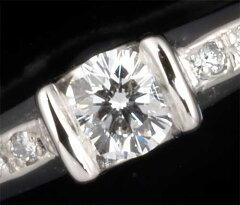 Ptダイヤモンド0.304ctG-SI1脇石ダイヤ0.12ctリング