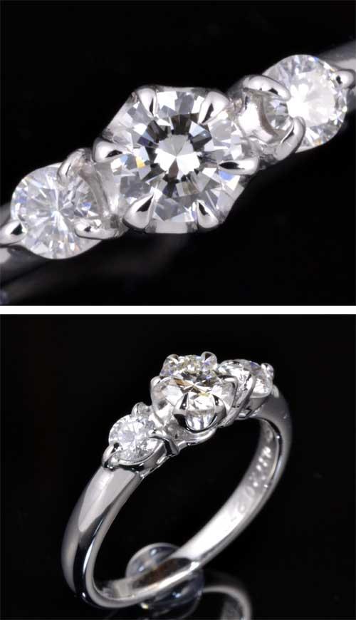 Pt ダイヤモンド 0.372ct I-VVS2 Goodダイヤモンド0.275ct プラチナ リング《!》