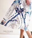 スカーフ柄がエレガントなプリーツスカート レディース ファッション スカート ホワイト スカーフ柄 膝下 春 夏 秋 プリーツ オフィスカジュアル 体系カバー 同窓会 およばれ 綺麗目 エレガント 大人 サワアラモード otona kawaii