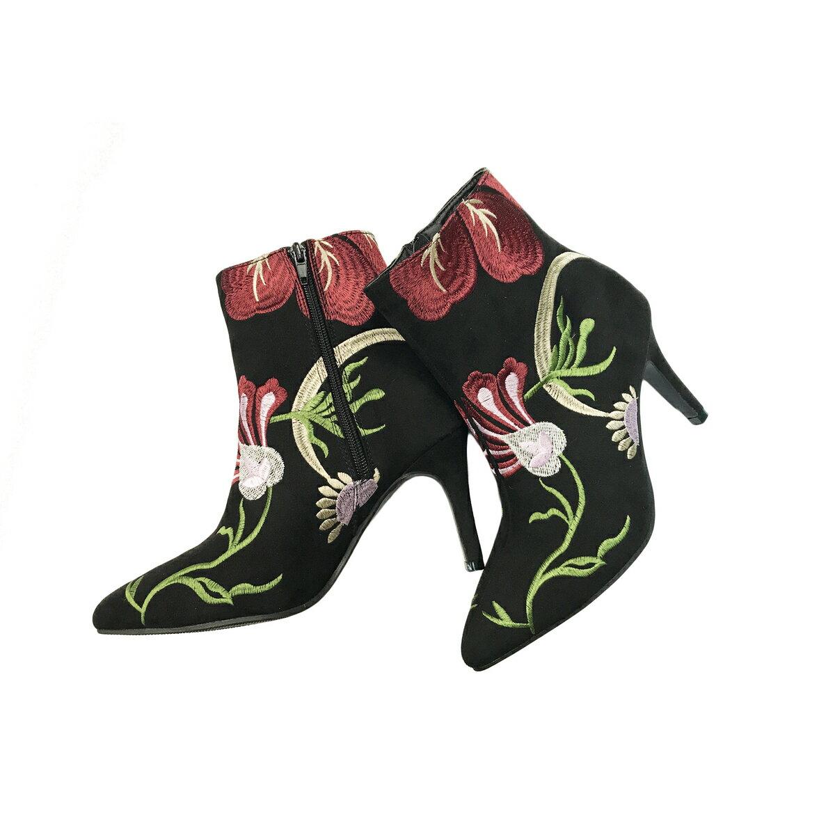 【ショートブーツ/ブーツ/刺繍ブーツ】花刺繍ショートブーツ【花柄刺繍/かわいい/ショーツブーティー/おしゃれ】:【RPC】【auktn】