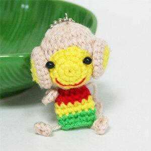 手編みの動物ストラップサルのストラップ(3タイプ)アジアンハンドメイド