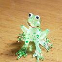 小さめタイプガラス細工カエルの置物(色付き)アジアン雑貨販売