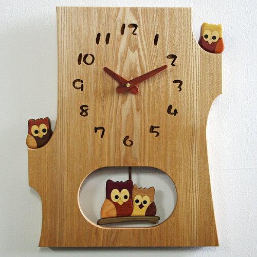 掛け 掛時計 時計 振り子 木製 フクロウ 天然 木 無垢 ムク ふくろう 人気 リビング 和室 本堂 ナ...