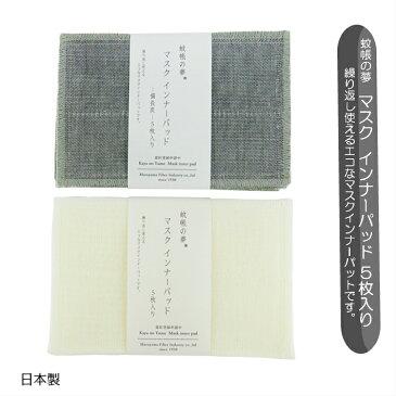 マスク インナーパッド 蚊帳の夢 5枚入り マスク用とりかえシート 5枚入り 白 備長炭 マスク 繰り返し使える マスク用とり替えシート日本製