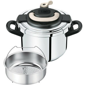ハンドルを上げ下げするだけで簡単にふたの開閉ができる圧力鍋です。【送料無料】T-fal P436073...