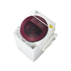 【送料無料】シャープ(SHARP) 縦型 (タテ型) 洗濯乾燥機 洗濯8.0kg/乾燥4.5kg プラズマクラスター レッド系 ES-TX840-R