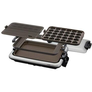 ホットプレート タイガー 大型 これ1台 3枚プレート 大容量 たこ焼き 平面 穴あき波型 TIGER CRV-G300-SN シルバー 縦置き 収納 お手入れ簡単 食卓 パーティー 丸洗い