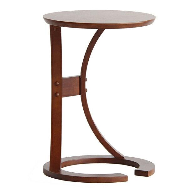 サイドテーブル北欧おしゃれ丸木製ナイトテーブルソファテーブルコンパクトスリムベッドブラウンLOTUS