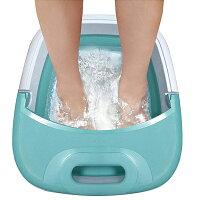 フットバス 足浴器 折りたたみ 保温 ふくらはぎ 足湯 ヒロコーポレーション MA-818 ホワイト/グリーン 折り畳み式フットバス 足湯器