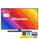 ハイセンス Hisense テレビ 3年保証 4Kチューナー内蔵 43A6800 43インチ 43型 レグザエンジンNEO搭載 地上 BS 110度CSデジタル 4K内蔵 LED液晶テレビ 4K内蔵