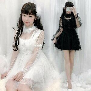 レースワンピース 透かし彫り セクッシー ロリータワンピース ロリータ服 長袖ドレス リボン付き チュールドレス 可愛い 白 黒 ハロウィンコスプレ衣装