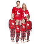 二枚送料無料 親子ペア パジャマ 親子コーデ ペアルック パジャマ クリスマス ルームウェア クリスマスイブ 家族お揃い 部屋着 欧米風 パジャマ 寝巻き 鹿のパターン 上下2点セット クリスマス衣装