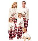 二個送料無料 クリスマス 親子ペア パジャマ クリスマス プレゼント ルームウェア 家族お揃い 部屋着 親子ペアルック ウェア 寝巻き ナイトウェア パパ ママ キッズ 鹿 トナカイ チェック柄