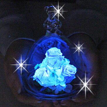 ベアーアイ 光るバラ クリスマス プリザーブドフラワー ガラス ケース バラ 記念日プレゼント フラワーギフト 退職祝い 女性 結婚記念日 ギフト 名入れ 花 還暦祝い 母 結婚祝い 誕生日プレゼント【あす楽】【送料無料】