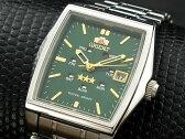 オリエント ORIENT スリースター 自動巻き レディース 腕時計 URL034NQ グリーン×シルバー メタルベルト ブレスレット