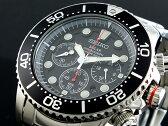 セイコー SEIKO 逆輸入 ソーラー クロノグラフ ダイバーズ メンズ 腕時計 SSC015P1 ブラック×シルバー メタルベルト