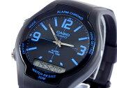カシオ CASIO スタンダード 逆輸入 アナデジ メンズ 腕時計 AW-90H-2B ブルー×ブラック ラバーベルト