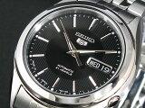 SEIKO 5 セイコー5 逆輸入 日本製 自動巻き メンズ 腕時計 SNKL23J1 ブラック×シルバー メタルベルト