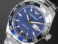 エンポリオアルマーニEMPORIOARMANIメンズ腕時計AR6048ネイビー×シルバーメタルベルト