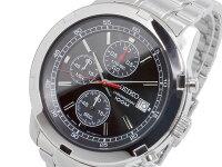 セイコーSEIKO逆輸入クロノグラフメンズ腕時計SKS421Pブラック×シルバーメタルベルト