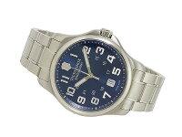 ビクトリノックスVICTORINOXスイス製クォーツメンズ腕時計241360ブルー×シルバーメタルベルト
