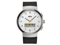ブラウンBRAUNデュアルタイムアナデジクオーツメンズ腕時計BN0159WHBKGホワイト×ブラックラバーベルト