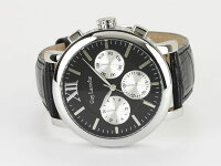 GuyLarocheギラロッシュマルチファンクションメンズ腕時計GS1402-02ブラック×シルバーレザーベルト