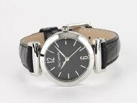 GuyLarocheギラロッシュクォーツレディース腕時計L1008-02ブラック×シルバーレザーベルト