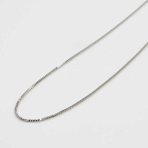 プラチナ(Pt850) スライドピンベネチアンチェーン 全長42cm ネックレス チェーン小穴Top用長さ調節可能(幅0.6mm・長さ42cm)