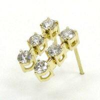 K18天然ダイヤモンドtypeAAtotal0.5ctスリーストーンピアス(0.9mm芯・キャッチなし)