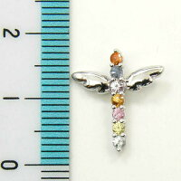 K18WGファンシーサファイヤアミュレット天使の羽根クロスペンダントヘッド