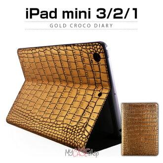為 iPad mini3/2/1 案例凝視黃金鱷魚日記 (goldkrocodiary 同性戀) iPad mini3、 迷你 iPad,瓣型、 皮夾克、 迷你 iPad,iPad 迷你封面、 圖書類型、 翻轉、 24 k 黃金,鱷魚