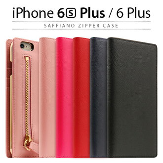 iPhone6s Plus/6 加上案例筆記本型 SLG 設計真皮拉鍊案例 (能源設計與真皮皮套拉鍊) iPhone smahocase 粉紅色紅色海軍黑色紅色藍色黑色皮革皮革硬幣箱