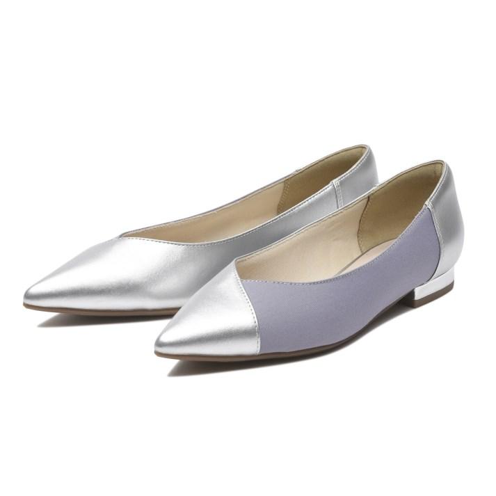 レディース靴, パンプス  NUOVO POINTED COMBI 2 2cm NE30222 SILVERPURPLE