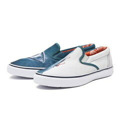 Jaws Striper Slip On Sneaker Shark Attack STS13883: Grey / White