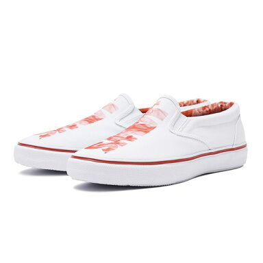 Jaws Striper Slip On Sneaker Logo STS14345: White / Red