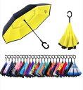 CarBoys 逆転傘 逆さ傘 逆折り式傘 自立傘 長傘 手離れC型手元 耐風 撥水加工 晴雨兼用 ビジネス用 車用 UVカット遮光遮熱 傘袋/ケース付き色: 黄色