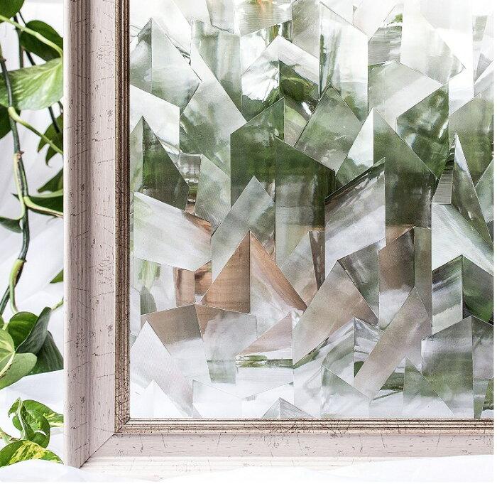 貼るだけで モザイクガラス レトロガラス 擦りガラス 磨りガラス 目隠し CottonColors(コットンカラーズ) 3D 窓用フィルム 目隠しフィルム 断熱シート 紫外線カット 粘着剤なし 再利用可能 90x200cm プライバシーガラスフィルム [夢の間020]