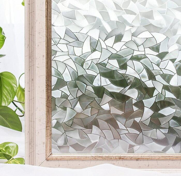 貼るだけで モザイクガラス ステンドグラス 擦りガラス 磨りガラス 目隠し CottonColors(コットンカラーズ) 3D 窓用フィルム 目隠しフィルム 断熱シート 紫外線カット 粘着剤なし 再利用可能 90x200cm プライバシーガラスフィルム [夢の間016]
