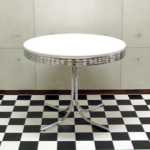 T-グロス 丸型ダイニングテーブル 50'S アメリカン レトロ WH/RD 円形テーブル ホワイト レッド【...