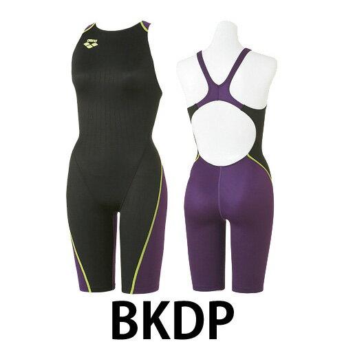 【アリーナ】XパイソンJr女子ハーフスパッツ競泳水着/レーシング/arena(FAR-2502WNJC)BKDPブラックXDパープル
