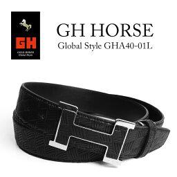 【父の日】GH GOLD HORSE GlobalStyle バスケットチェックブラックベルトベルト メンズ 牛革 日本製 ブランド チェック 無地 柄 黒 バックル H型