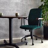 オフィスチェアー PCチェア パソコンチェア デスクチェア 事務椅子 ハイバック ベルベット生地 ジオメトリック レトロ アンティーク 北欧 緑 グリーン