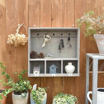 キーフック シェルフ 鍵置き 玄関収納 小物収納 ミニラック 木製 ウッドラック 壁面収納 鍵かけ シャビー ナンバー アンティーク調