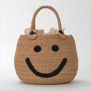 【ajolie】アジョリースマイル刺繍カゴバッグ